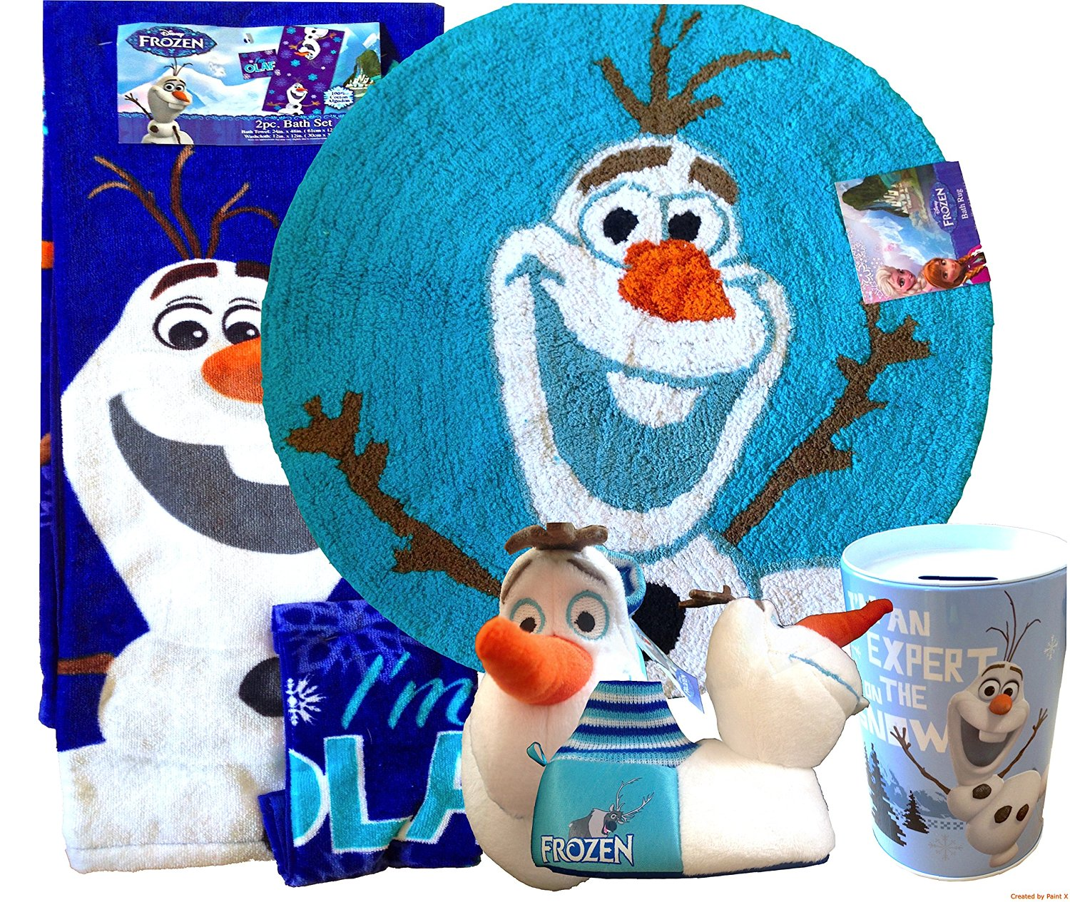 Disney Frozen Olaf Bathroom Decoration| Disney Frozen 2pc Bath Set Includes; Bath Towel with Small Washcloth Disney Frozen Olaf Circular Bath Rug with Cute Olaf Toddler Slippers and Olaf Coin Tin Box Your Perfect Christmas Gift Disney Frozen Olaf (MEDUIM T 7/8)