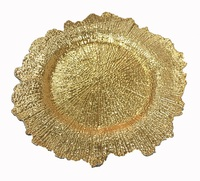 PZ01420-2 wholesale cheap wedding floral gold and shiny plastic charger plate