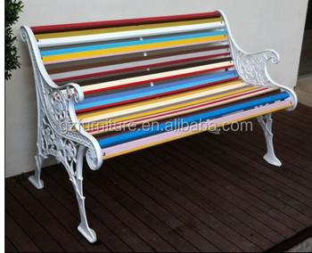 Nuovo Design Colorato Di Plastica Panchina Doghe Ghisa Panca Da