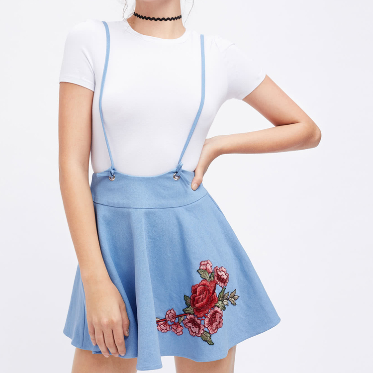 embroidery rose patch flared high waist shoulder strap ruffle a line skirt