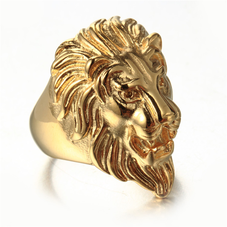 for diamond head solid mainye ring luxurman gold pinky men rings lion