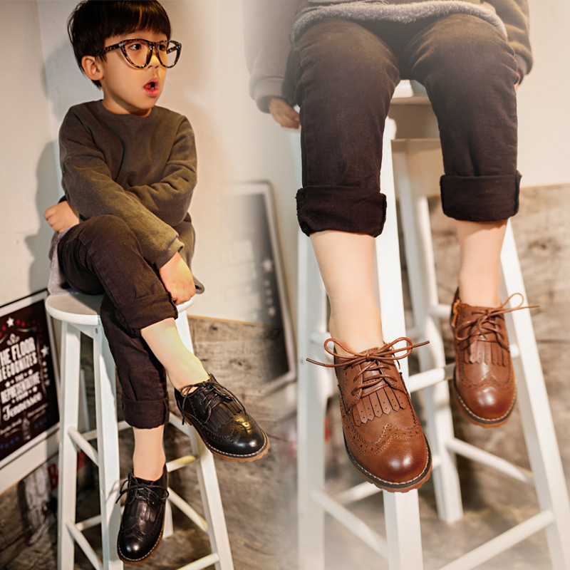 spring 2016 children shoes boys retro gentleman casual shoes girls shoes