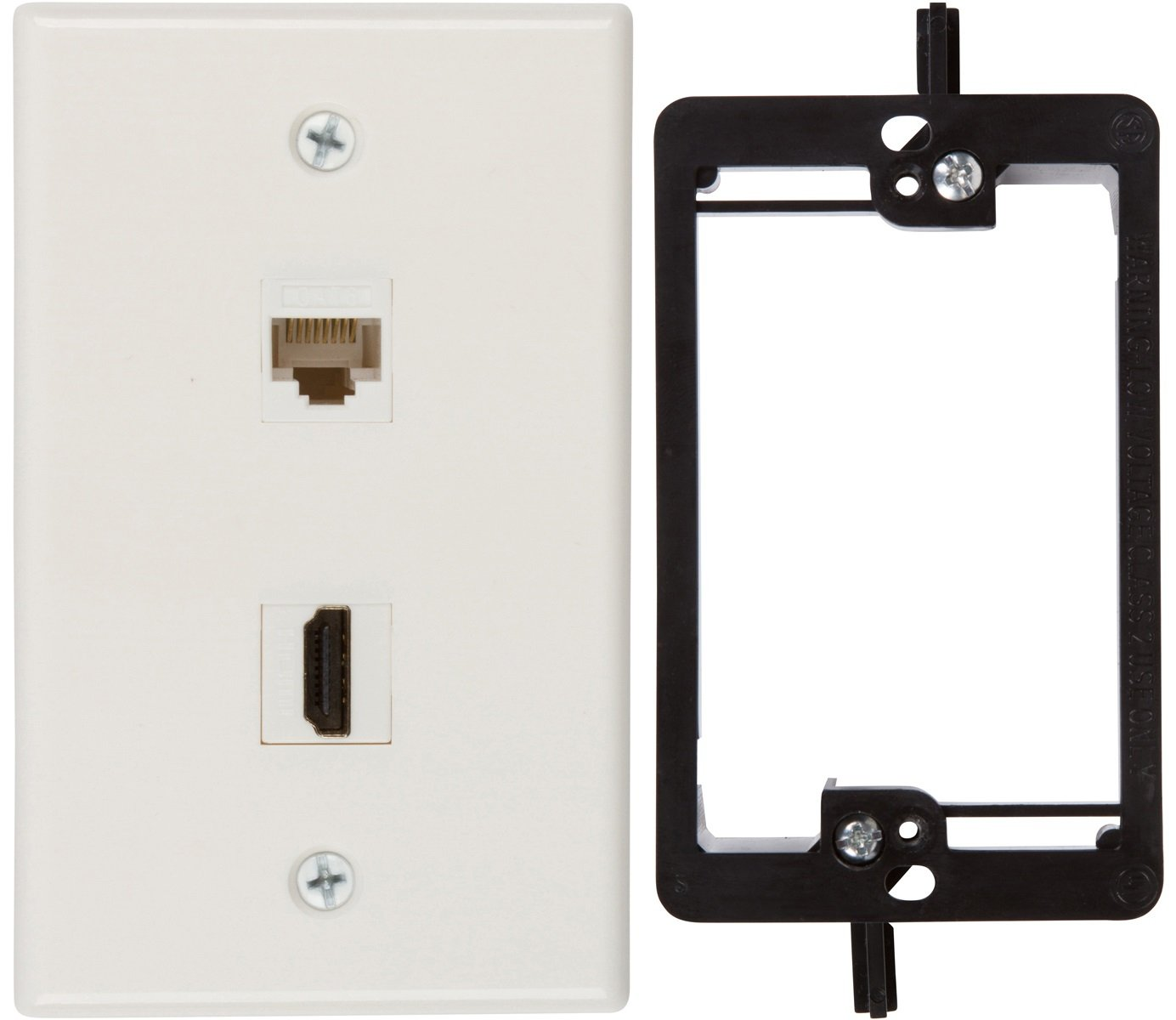 BATIGE Coaxial TV Cable F type RJ45 Cat6 Ethernet HDMI Keystone Compose Wall Plate 1 F-Type /& 1 CAT6 /& 2 HDMI