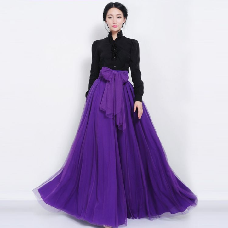 b6cabf3f1db7 Get Quotations · High Waist Fashion Tulle Tutu Maxi SKirt With Bowknot  Waistband Summer Style Jupe Femme Faldas Largas