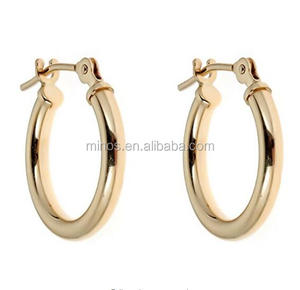 New Desgin 14K Real Yellow Gold Tubular Shiny Round Hoops Hoop Earrings 2x14 Mm