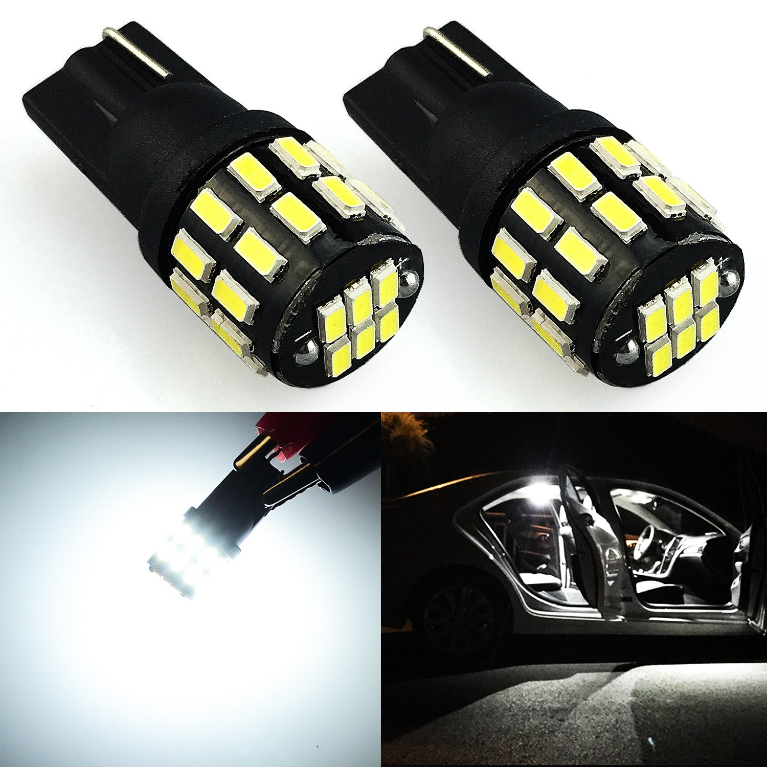 JDM ASTAR Extremely Bright 30-EX Chipsets 168 175 194 2825 W5W T10 New Style LED Bulbs,Xenon White ( Interior Use Only)