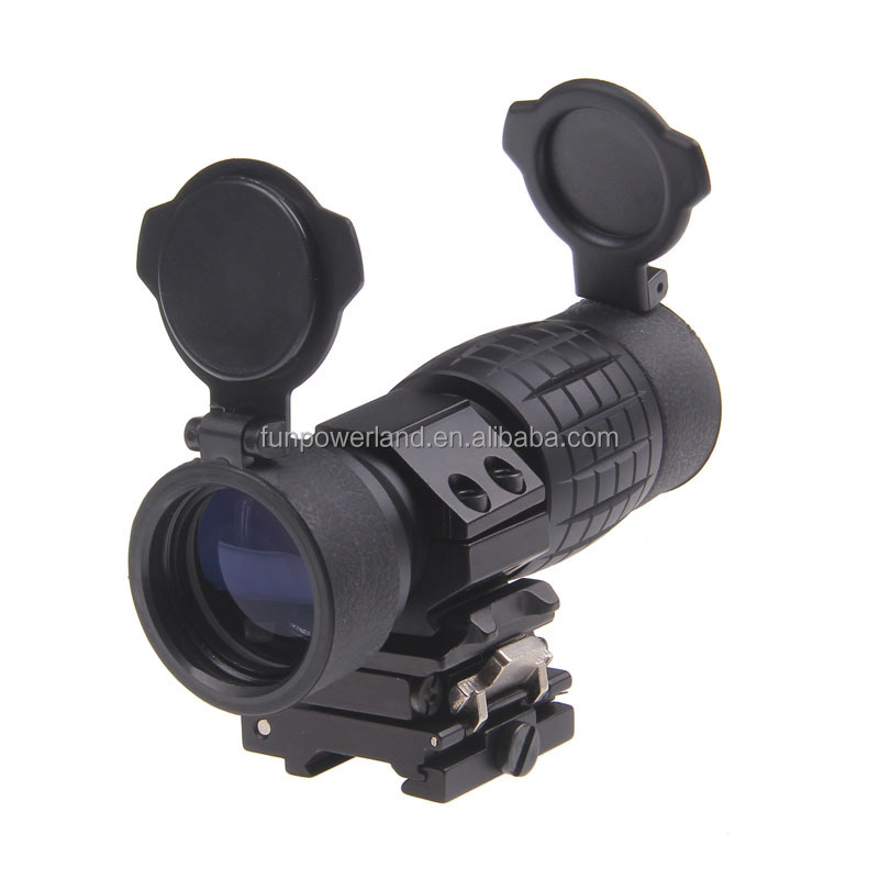 Tactical 3X Magnifier Scope Sight with Flip to Side 20mm Picatinny Weaver Rail Fits Hunting Rifle Watching