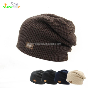 f58de28e2677b Brown Leather Patch Beanie Hat
