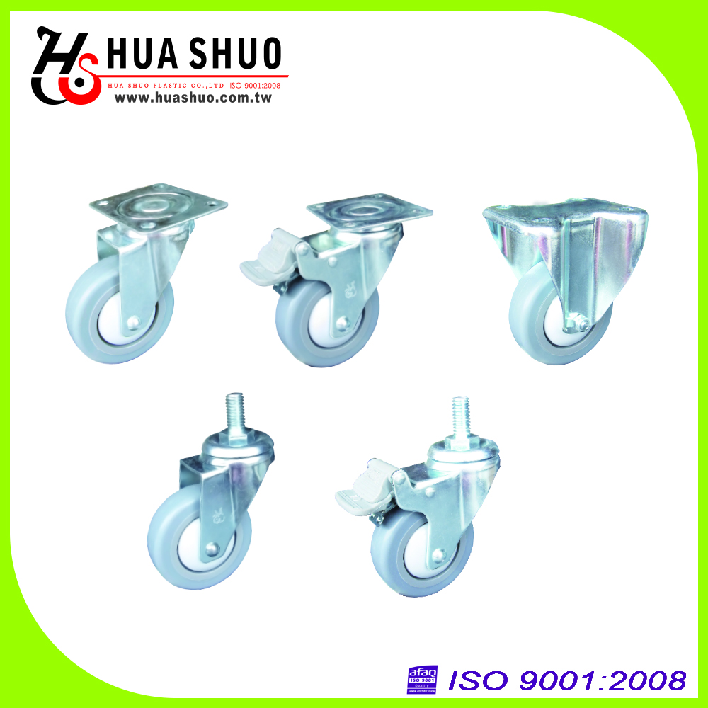 3 inch TPR casters and small swivel caster with ball bearing casters
