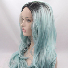 Ombre Blue to Green Lace Front Wigs Synthetic Hair Half Hand Tied Heat Resistant Fiber