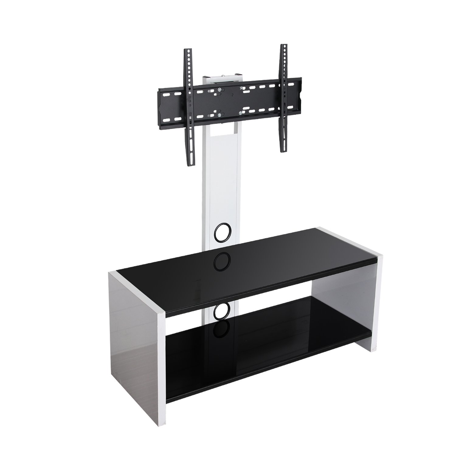 Get Quotations Sevenfans Universal Swivel Gl Tv Stand With Mount Audio Shelf