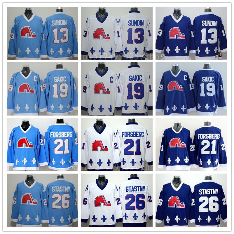 ... clearance quebec nordiques throwback hockey jerseys 13 mats sundin 19  joe sakic 21 peter forsberg 26 415e2129d