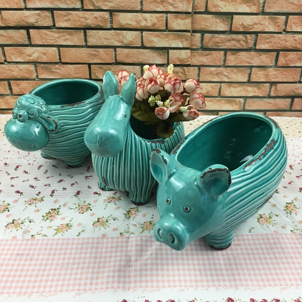 Creative indoor and outdoor animal shape pig shape ceramic flower pot