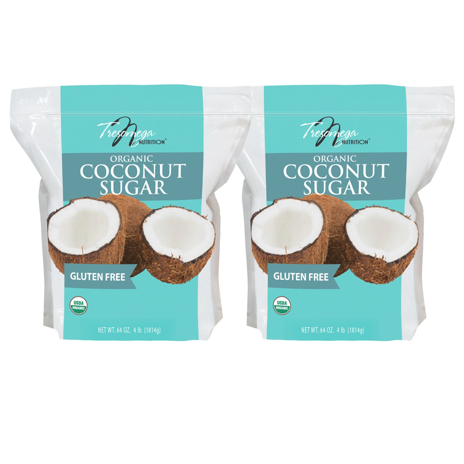 Tresomega Nutrition Organic Coconut Sugar, 4 Pound (Pack of 2)