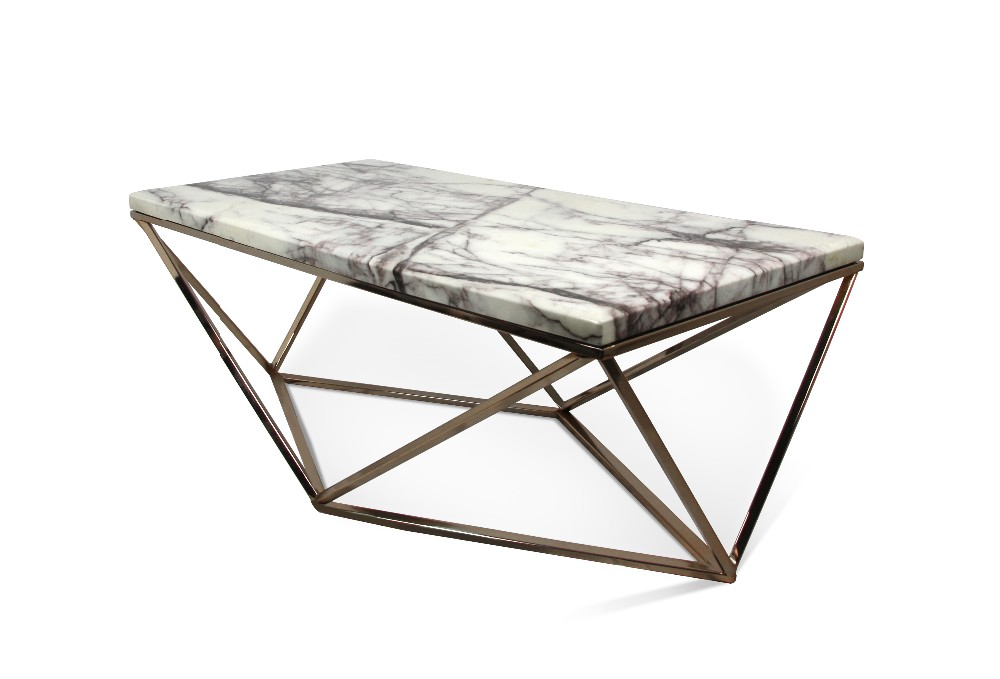 high class rose golden plated metal modern unique design octagon clear glass coffee table