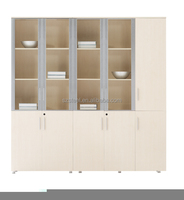 MDF wooden bookshelf glass door file cabinet, MDF file cabinet for office use