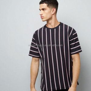 Mingmen oem comfortable stripe round personalised tee shirts
