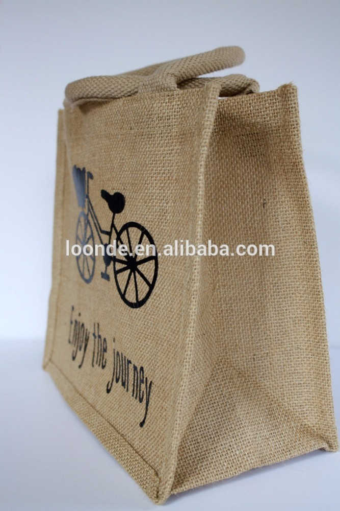 Best quality advertising burlap fabric brown shopping bag with handles