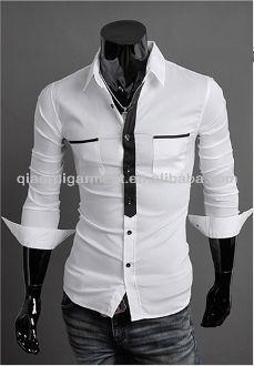 ea31af32 Men's Stylish Slim Fit Black Fake Tie Double Pocket Casual Shirts ...
