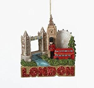 "3"" Glittered International City of Travel London Christmas Ornament"