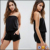 KY wholesale black viscose Bandau neck Drawstring waistband Relaxed fit Black Beach Romper