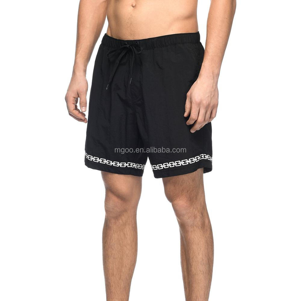 4e3d00fd3 Black And White Nylon Elastic Waist Board Shorts Customize Chain Link  Screen Print Graphics Swim Shorts 100% Nylon Zipper