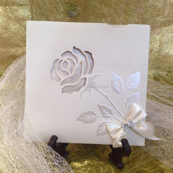 Amazing White Ivory Invitation Card Rose Floral Pocket Embossing
