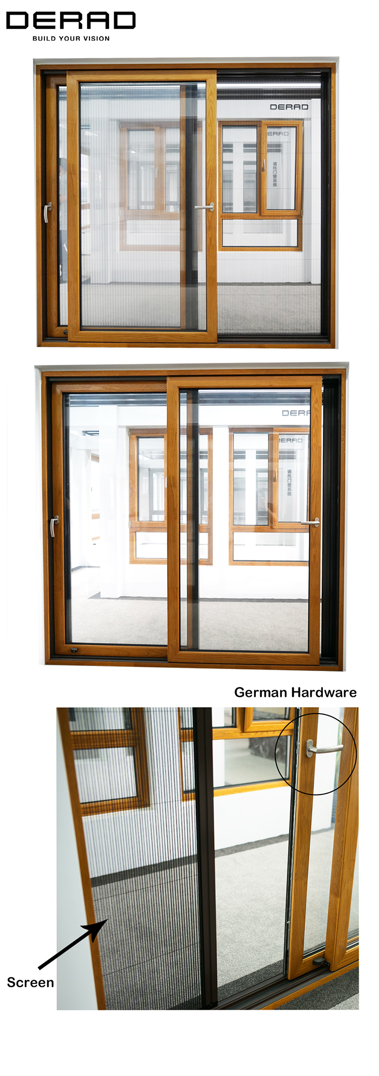 Modern Exterior Solid Wood Sliding Door System with Fly Screen