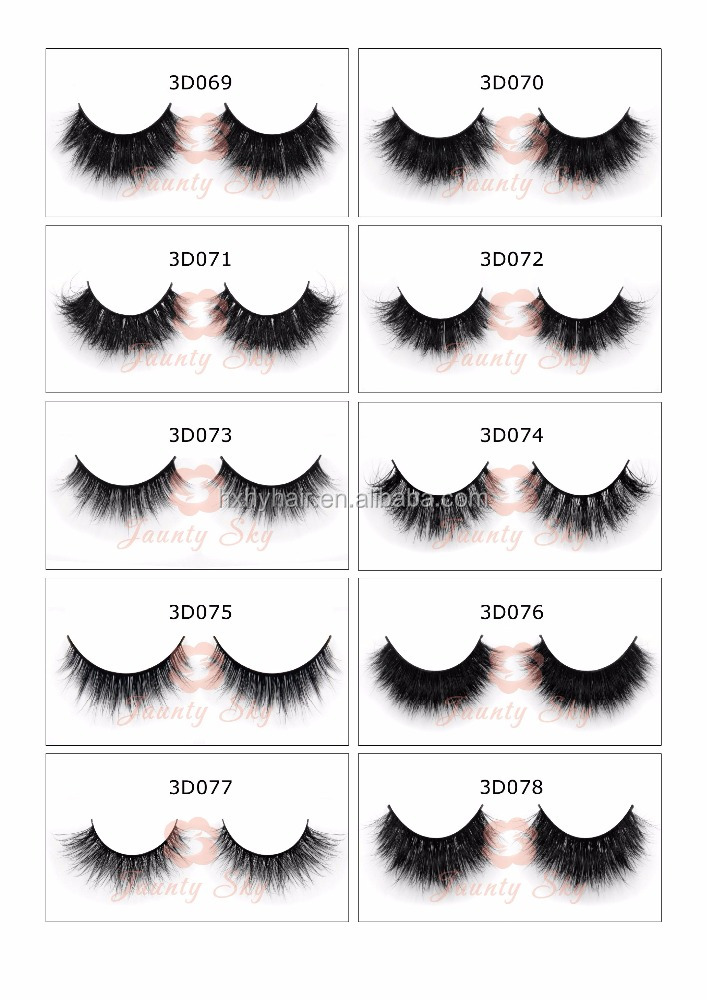 f7fcf3a7c28 Best luxury quality 3D real mink fur strip lashes custom fake eyelash  wholesale