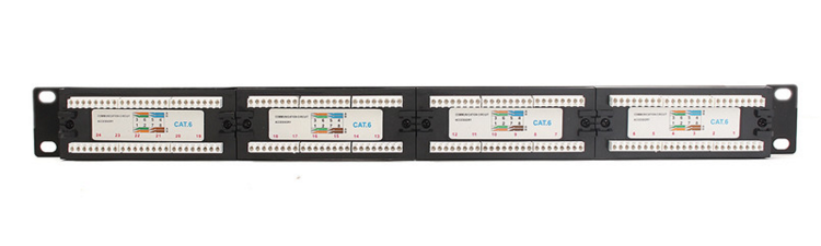 High Quality Network 24 Port RJ45 Modular Jack 8C8P Cat6 Patch Panel