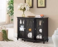 Wood Storage Sideboard Buffet Cabinet Console Table, Black console dining table