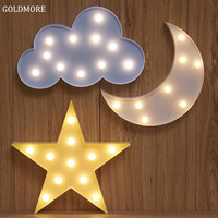 LED Night Light Creative Cute Shape Kids Room Marquee Signs Lamp Durable Battery Light for Festival Party Decorations