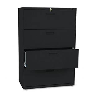 HON : 500 Series Four-Drawer Lateral File, 36w x53-1/4h x19-1/4d, Black -:- Sold as 2 Packs of - 1 - / - Total of 2 Each
