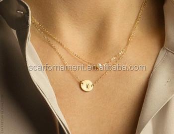 635e17112bb7 Más barato elegante de dos capas de oro falso collares de cadena con cartas  moneda de