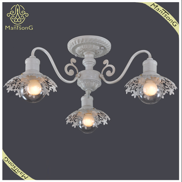 Antique Style Flower Surrounded Ceiling Lamp E27 Light Source
