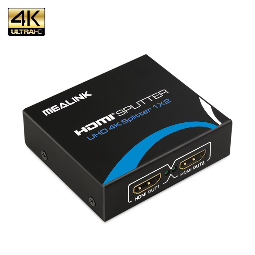 MEALINK 2-Port HDMI Splitter 4K HDMI Splitter 1 in 2 out HDMI signal Amplifier 1x2,Supports 4k2k 3D 1080p for TV Projector PS3 PS4 TV Box PC KTV