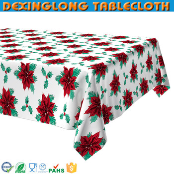 Christmas Plastic Printed Fancy Table Cover Patterned Tablecloth Thick Roll