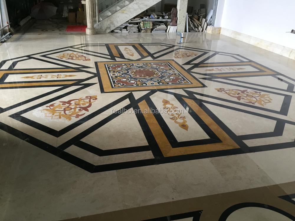 Casa fiore waterjet marmo piastrelle intarsio disegno del pavimento