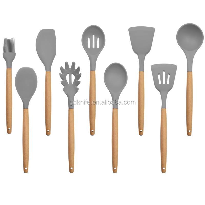 Amazon top seller 9pcs beech wood handle silicone kitchen cooking utensils