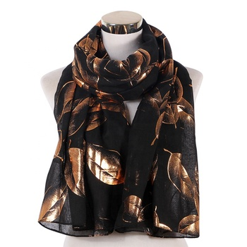 Hot rose gold stamping leaves pattern women's four seasons hijab scarf cotton