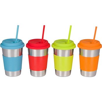 4b6b4da3b33 16oz Stainless Steel Cups With Silicone Lids Sleeves And Straws ...