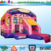 EN14960 pink princess inflatable bouncer combo for sale, fun inflatable bouncy castle with slide