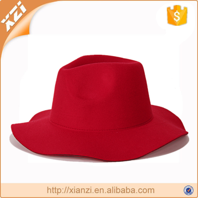 Polyester cheap hat 7cm brim red hat panama hat