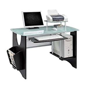 Deluxe Frosted Tempered Glass Computer Desk - Espresso