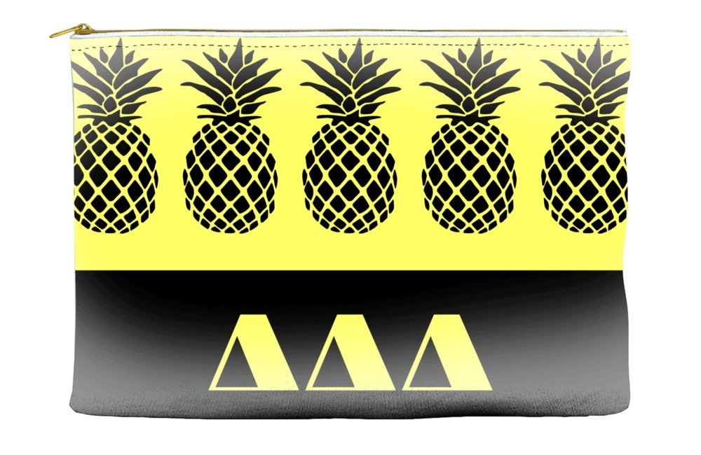 Delta Delta Delta (Tri Delta) Pineapple Pattern Yellow Cosmetic Accessory Pouch Bag for Makeup Jewelry & other Essentials
