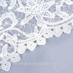 High quality white organza lace fabric wedding stretch lace trim in Shantou