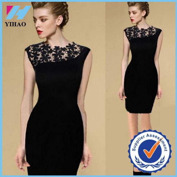Summer Dress NEW Black Sexy Womens Stretch Evening Party Casual Lace Slim Bodycon Pencil Dresses Vestidos Crochet Elegant Dress