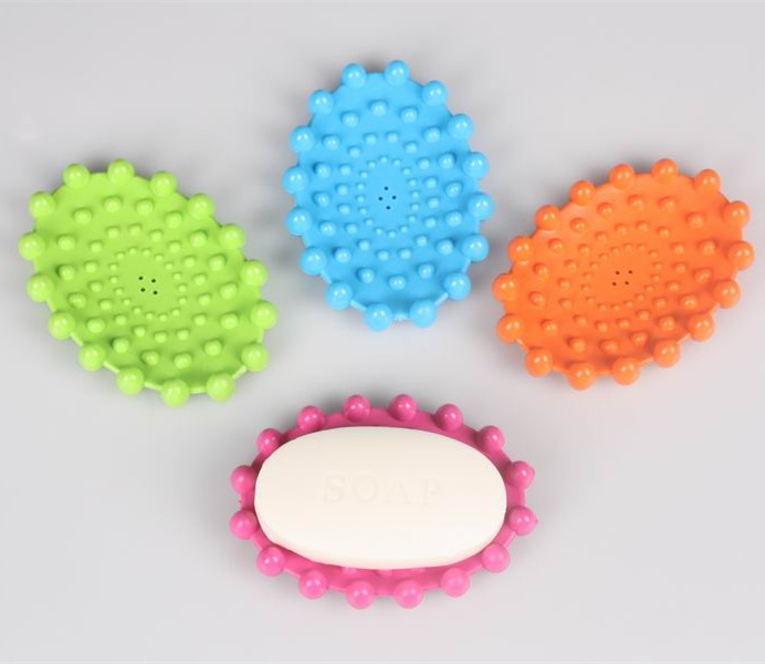 Fashion Colorful Round Plastic Soap Sucker Mat for Bathroom