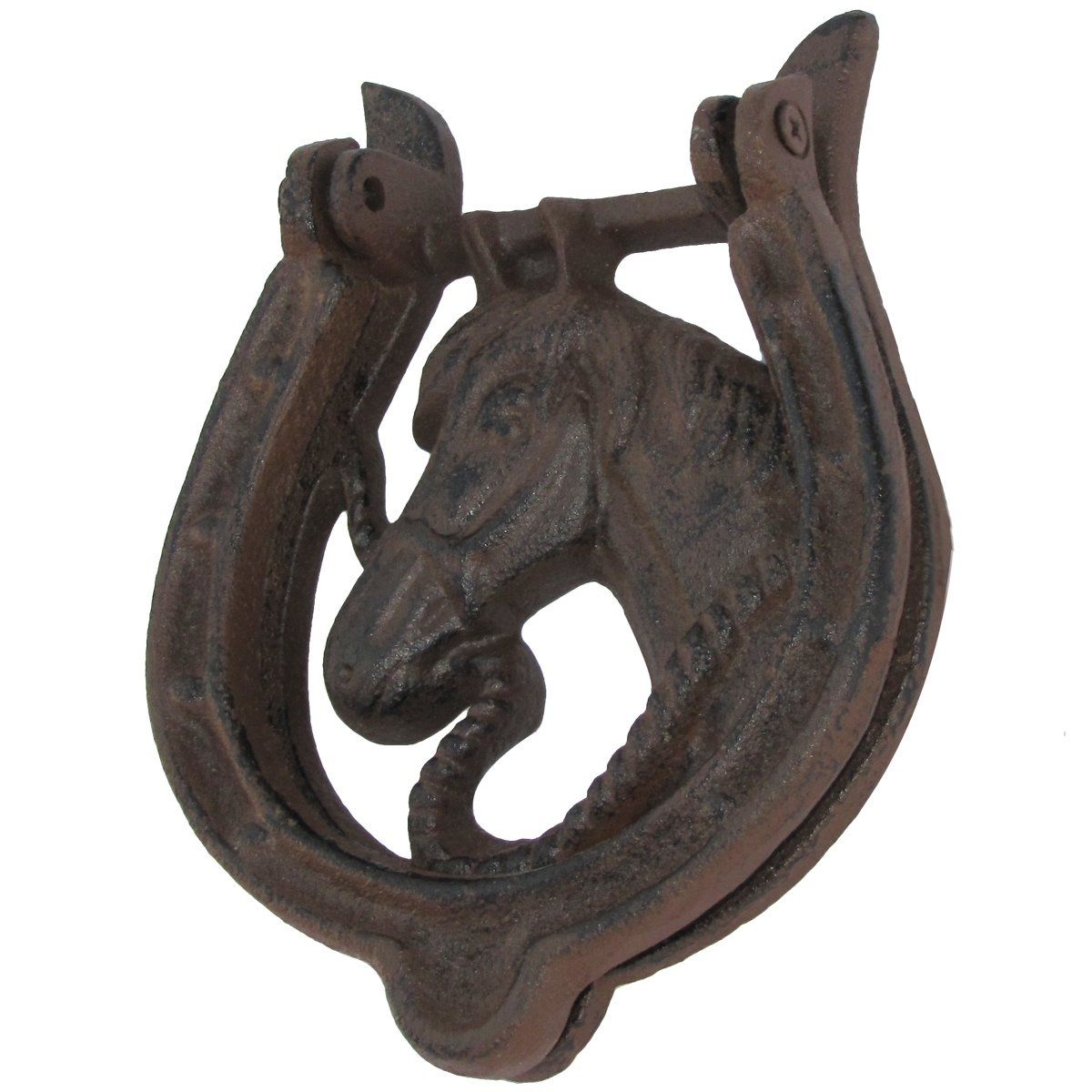 Gold Design Toscano Horseshoe Stallion Foundry Cast Iron Horse Door Knocker