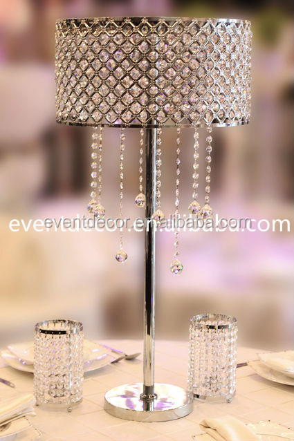 Silver wedding flower stand hanging crystal for party